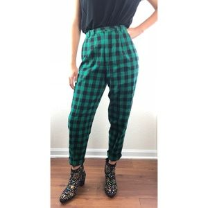 Vintage Gap Green Check Pleated Cuffed Pants